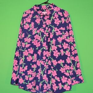 Lilly Pulitzer Womens XL Floral Long Slv Shirt